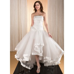 A-Line/Princess Strapless Asymmetrical Taffeta Organza Wedding Dress With Flower(s) Cascading Ruffles