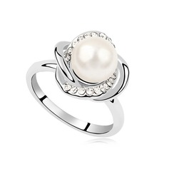 Unique Pearl/Platinum Plated With Rhinestone Ladies' Rings