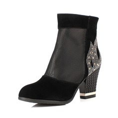 Suede Chunky Heel Ankle Boots With Beading shoes