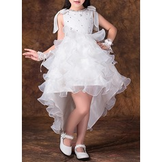 A-Line/Princess Short/Mini Flower Girl Dress - Tulle/Lace Sleeveless Scoop Neck With Lace/Bow(s)/Rhinestone