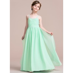 A-Line/Princess Sweetheart Floor-Length Chiffon Junior Bridesmaid Dress With Cascading Ruffles