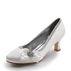 Women's Satin Chunky Heel Closed Toe Pumps With Bowknot Rhinestone (047005124)