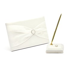 Simple Satin Ribbons/Rhinestones/Bow Guestbook/Pen Set