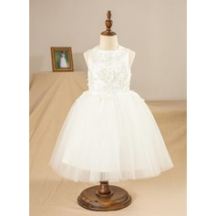Ball Gown Knee-length Flower Girl Dress - Satin/Tulle Sleeveless With Appliques
