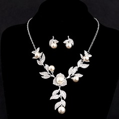 Beautiful Alloy/Imitation Pearls With Austrian Crystal Women's Jewelry Sets
