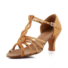 Women's Satin Heels Sandals Latin Ballroom With T-Strap Dance Shoes