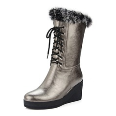 Women's Leatherette Wedge Heel Mid-Calf Boots With Braided Strap shoes