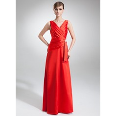 A-Line/Princess V-neck Floor-Length Charmeuse Evening Dress With Ruffle Crystal Brooch