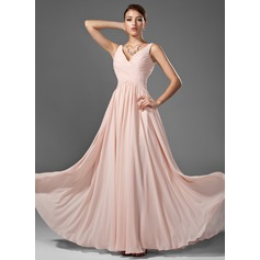 A-Line/Princess V-neck Floor-Length Chiffon Prom Dress With Ruffle