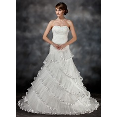Ball-Gown Sweetheart Court Train Organza Wedding Dress With Lace Beading Cascading Ruffles Pleated