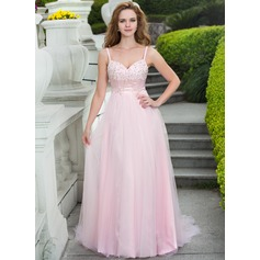 A-Line/Princess Sweetheart Court Train Tulle Prom Dress With Lace Beading Bow(s)