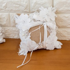 Pure Elegance Ring Pillow in Satin With Ribbons/Flowers