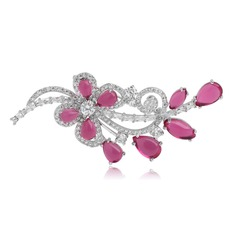 Exquisite Zircon Copper Platinum Plated Ladies' Fashion Brooches