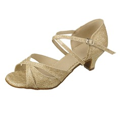 Women's Sparkling Glitter Heels Sandals Latin With Sequin Dance Shoes