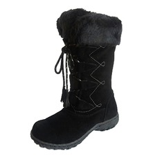 Women's Suede Flat Heel Boots Mid-Calf Boots Snow Boots With Rhinestone Lace-up shoes