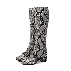 Women's Real Leather Chunky Heel Knee High Boots Rain Boots With Animal Print shoes