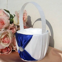Flower Basket In Satin With Rhinestones And Sash(102018041)