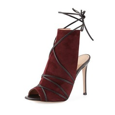 Women's Suede Stiletto Heel Peep Toe Ankle Boots With Braided Strap shoes