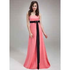 Empire Strapless Sweep Train Satin Bridesmaid Dress With Sash Beading Bow(s)
