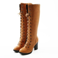 Women's Leatherette Chunky Heel Platform Knee High Boots With Braided Strap shoes