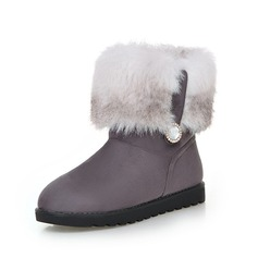 Women's Suede Flat Heel Ankle Boots Snow Boots With Fur shoes