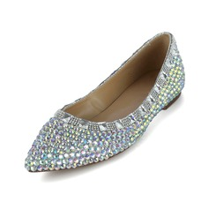 Patent Leather Flat Heel Closed Toe With Rhinestone shoes (086038299)