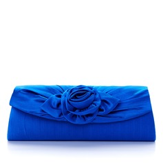 Gorgeous Satin With Flower Clutches/Cross-Body Bags