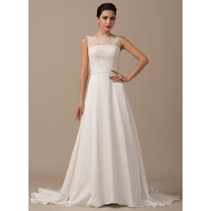 A-Line/Princess Scoop Neck Court Train Chiffon Lace Wedding Dress With Beading Sequins Bow(s)