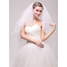 Six-tier Cut Edge Waltz Bridal Veils With Applique