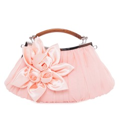 Elegant Satin/Silk With Flower/Ruffles Clutches/Top Handle Bags