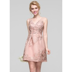 A-Line/Princess V-neck Short/Mini Organza Lace Bridesmaid Dress