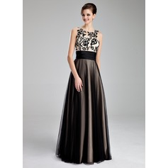 A-Line/Princess Scoop Neck Floor-Length Tulle Prom Dress With Ruffle Lace