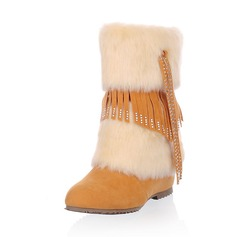 Leatherette Low Heel Mid-Calf Boots With Rhinestone Tassel Fur shoes