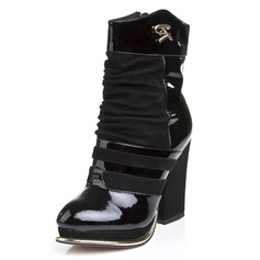 Patent Leather Chunky Heel Pumps Closed Toe Mid-Calf Boots With Zipper shoes