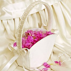 Elegant Flower Basket With Bow/Faux Pearl