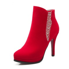 Women's Suede Leatherette Stiletto Heel Pumps Boots Ankle Boots With Rhinestone shoes