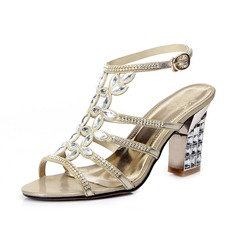 Leatherette Chunky Heel Sandals Slingbacks With Rhinestone shoes