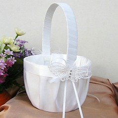 Butterfly Themed Flower Basket In White Satin And Lace(102018095)