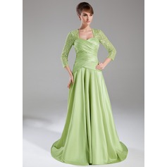 A-Line/Princess Sweetheart Sweep Train Taffeta Lace Mother of the Bride Dress With Ruffle
