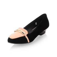 Leatherette Patent Leather Wedge Heel Closed Toe Flats