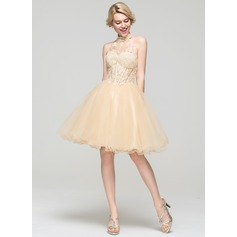 A-Line/Princess High Neck Knee-Length Tulle Cocktail Dress