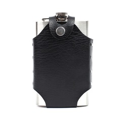 Personalized Stainless Steel/Leather Flask