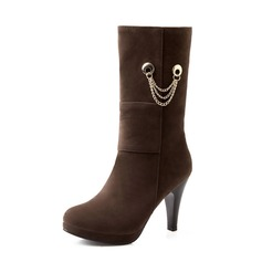 Suede Stiletto Heel Ankle Boots With Chain shoes