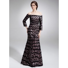 Trumpet/Mermaid Off-the-Shoulder Floor-Length Charmeuse Lace Mother of the Bride Dress With Ruffle Beading