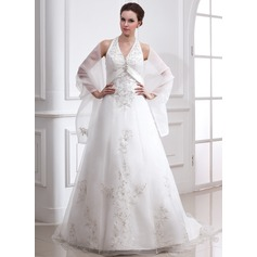 A-Line/Princess Halter Court Train Satin Organza Wedding Dress With Embroidered Beading