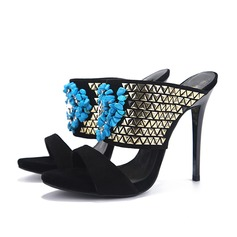 Women's Suede Stiletto Heel Sandals Slippers With Beading shoes