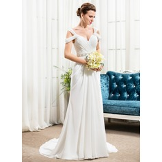 A-Line/Princess Off-the-Shoulder Court Train Chiffon Wedding Dress With Ruffle Beading Sequins