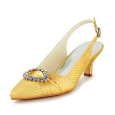 Women's Satin Cone Heel Closed Toe Pumps Slingbacks With Buckle Rhinestone