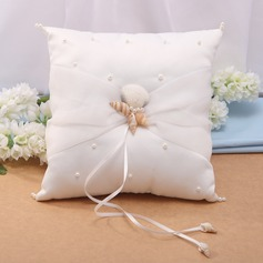 Starfish Design Ring Pillow in Satin With Starfish and Seashell