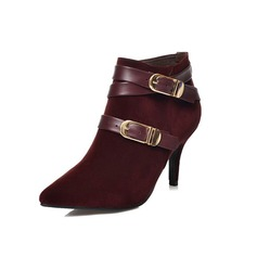 Women's Suede Leatherette Stiletto Heel Ankle Boots Martin Boots With Buckle Split Joint shoes